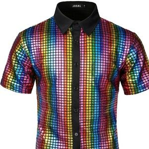 Jogal Holographic Collared Button Down Shirt